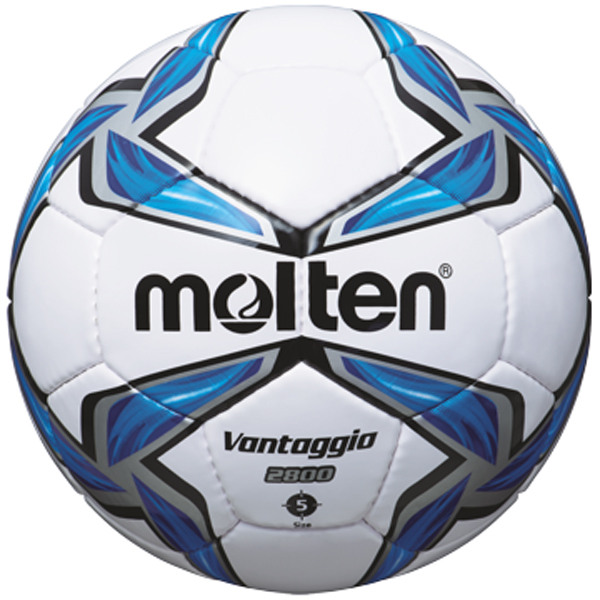 molten® Trainingsfußball, Größe 5, PU-Material, strapazierfähig, weiß/blau/silber