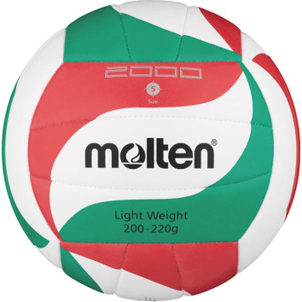 molten® Light-Volleyball,V5M2000-L, weiß/rot/grün, ca. 200-220 g, Größe 5