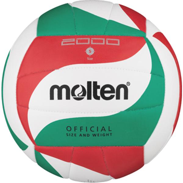 molten® Trainings-Volleyball, V5M2000, weiß/rot/grün, Größe 5