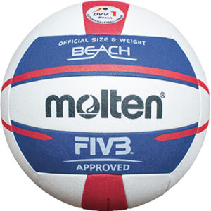 molten® Beach-Volleyball,V5B5000-DE, Größe 5, DVV Beach 1 Prüfzeichen, weiß/blau/rot