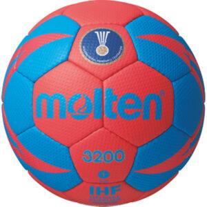 molten® Handball H1X3200, weiches Synthetik-Leder, IHF-Gütesiegel, rot/grün, Größe 1