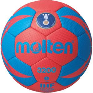 molten® Handball H2X3200, weiches Synthetik-Leder, IHF-Gütesiegel, rot/grün, Größe 2