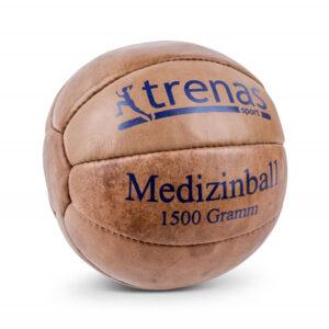 Leder Medizinball aus echtem Leder mit feuchtigkeitsresistentem Spezialgranulat - 1,5 KG