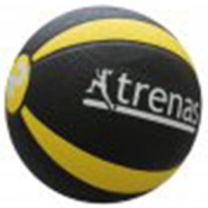 Medizinball aus Gummi, 2,0 kg, Ø 19 cm, schwarz-gelb