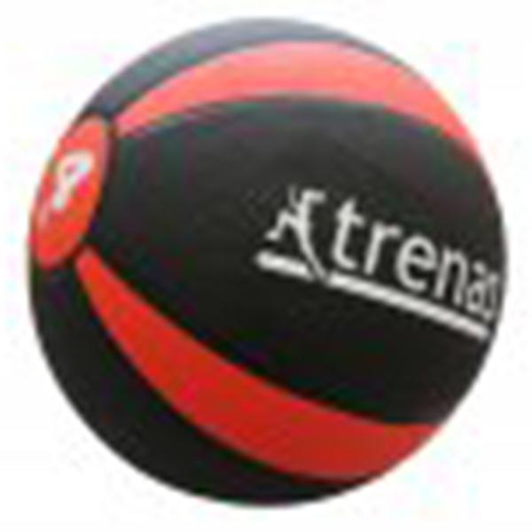 Medizinball aus Gummi, 4,0 kg, Ø 22 cm, schwarz-rot