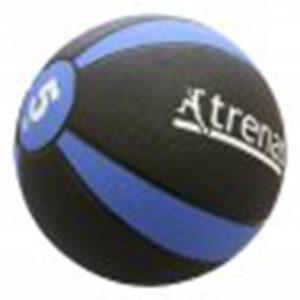 Medizinball aus Gummi, 5,0 kg, Ø 24 cm, schwarz-blau