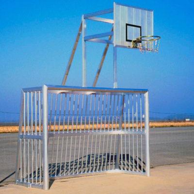 Bolzplatztor Alu-Ballfang und BB-Aufsatz, vollverschweißt, 3x2m, 120x100 mm