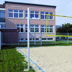 Stationäre Wettkampf Beach Volleyball Anlage, eloxiert, mattsilber