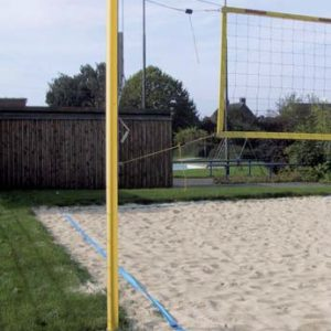 Stationäre Beach Volleyball Anlage, pulverbeschichtet, gelb