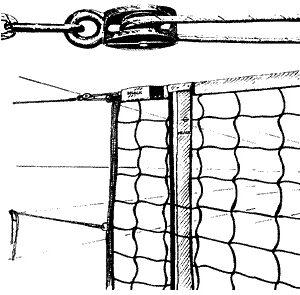 Volleyball - Turniernetz nach DVV - Prüfzeichen I, mit Umlenkrolle
